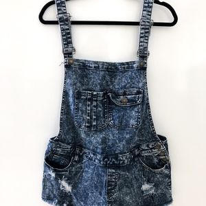 Acid Washed Denim Jean Overall Shorts